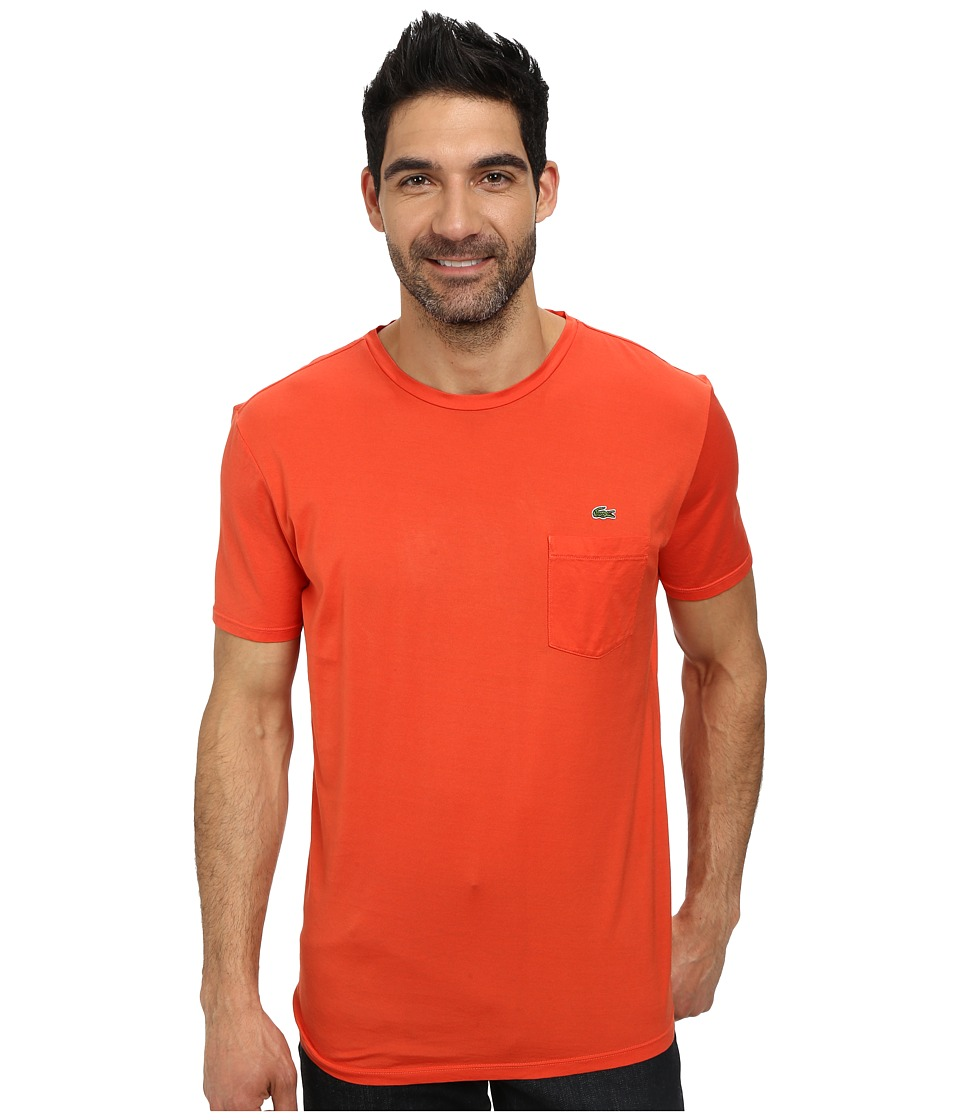 Lacoste - Jersey Super Fine Pima Short Sleeve Crew Neck Tee Shirt with Pocket (Orangeraie) Men