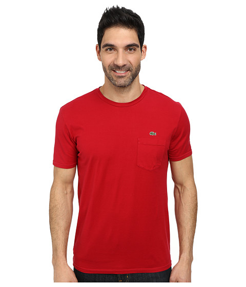 Lacoste - Jersey Super Fine Pima Short Sleeve Crew Neck Tee Shirt with Pocket (Tokyo Red) Men