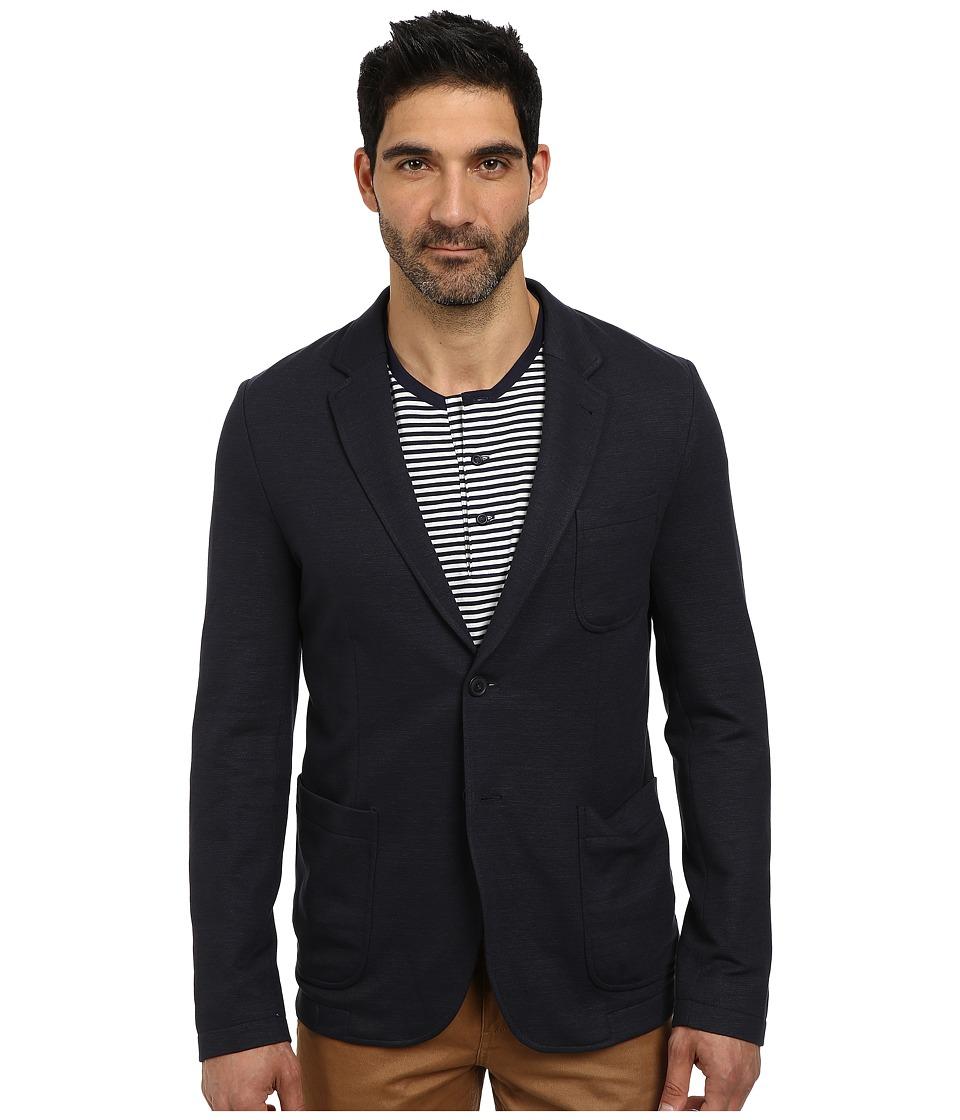 Lacoste - Cotton Linen Knit Blazer (Navy Blue) Men