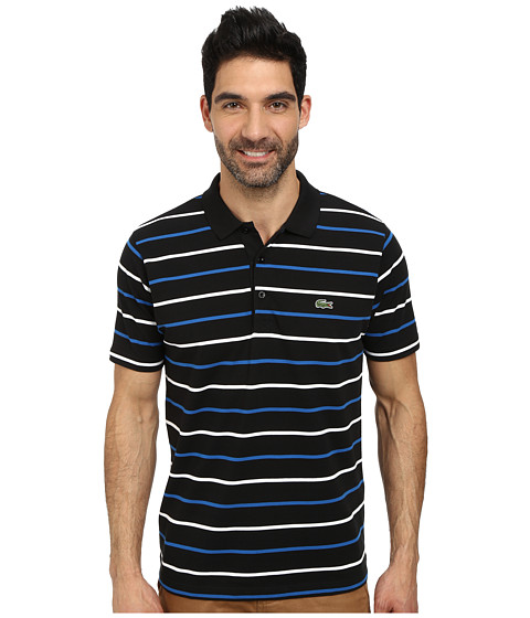 Lacoste - Sport Cotton Super Light Stripe Polo (Black/Laser/White) Men