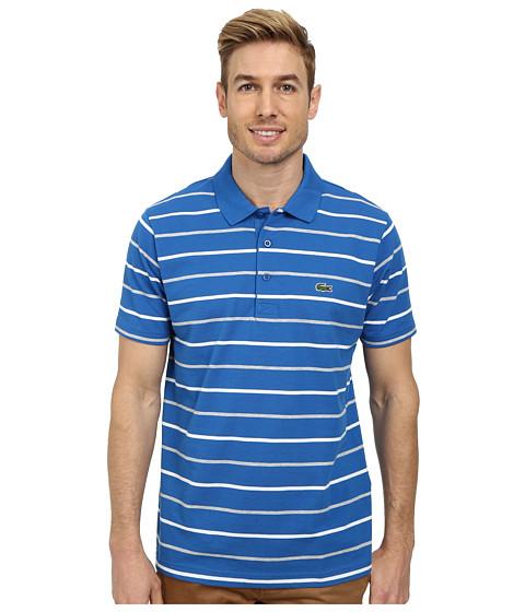 Lacoste - Sport Cotton Super Light Stripe Polo (Laser/White/Silver Chine) Men