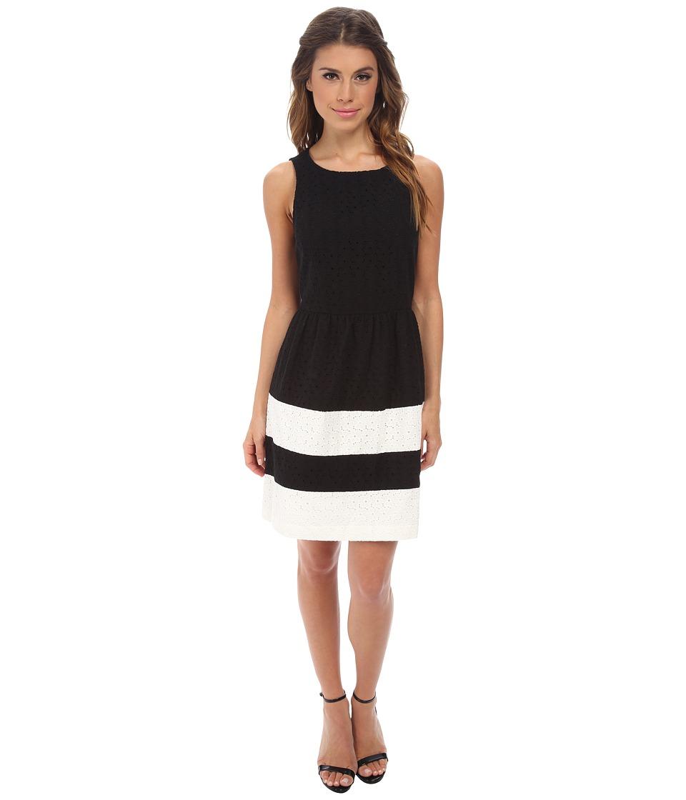 kensie - Stacked Daisy Eyelet Dress KS2K7422 (Black Combo) Women's Dress