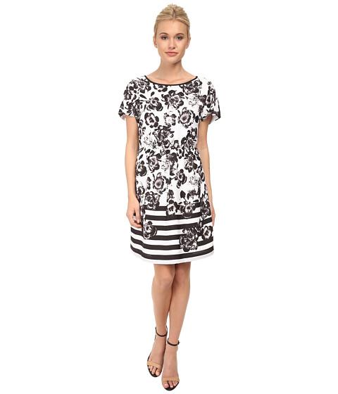 kensie - Flowers and Stripe Dress KS3K7450 (White Combo) Women's Dress