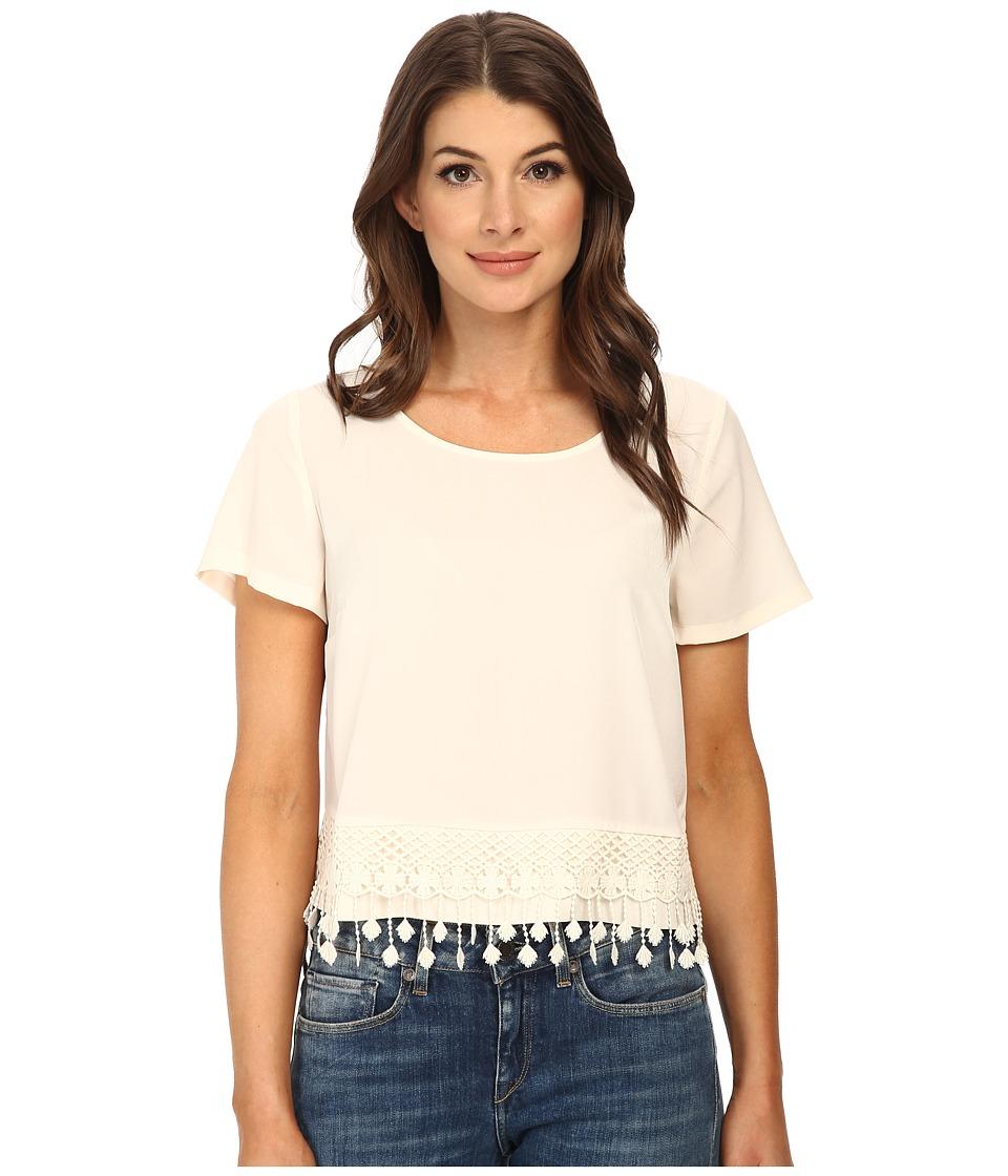 kensie - Thick Soft Crepe Top KS3K4437 (Vanilla) Women's Short Sleeve Pullover