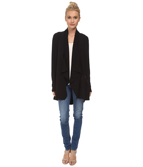 kensie - Drapey French Terry Jacket KS4K2138 (Black) Women's Coat