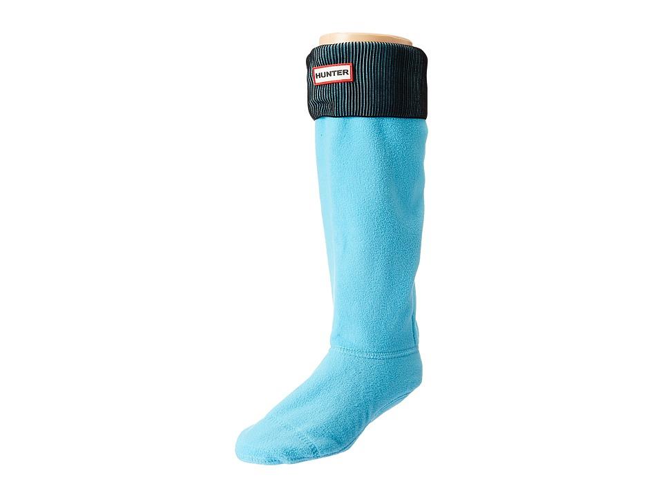 Hunter - Pleated Rib Boot Sock (Sky Blue/Black) Women's Crew Cut Socks Shoes