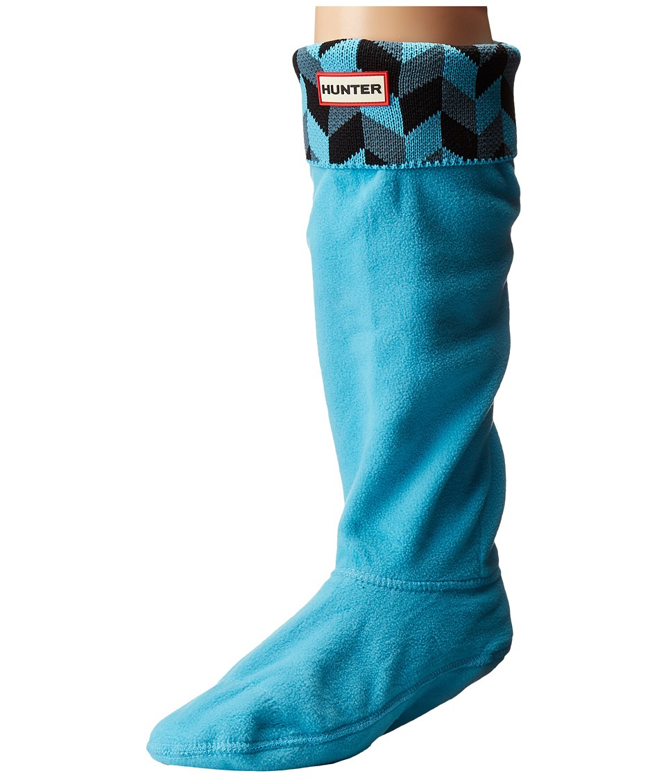 Hunter - Geometric Dazzle Boot Sock (Dusty Petrol/Sky Blue) Women's Crew Cut Socks Shoes