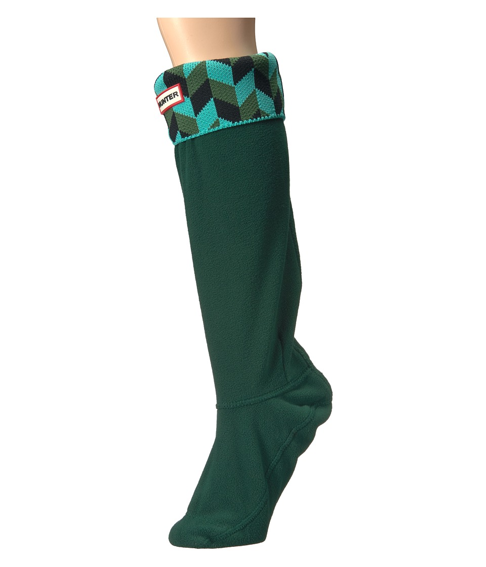 Hunter - Geometric Dazzle Boot Sock (Tourmaline Green/Dark) Women's Crew Cut Socks Shoes