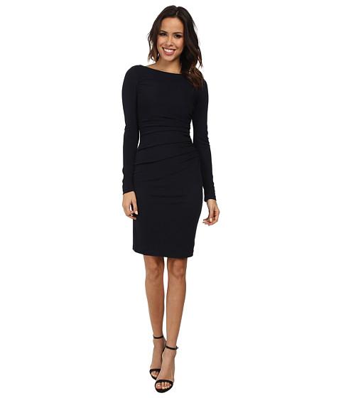 Badgley Mischka - L/S Matte Jersey Day Dress (Navy) Women