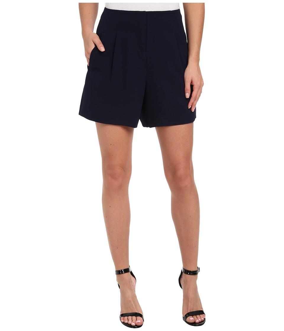 Badgley Mischka - Pebble Crepe High Waisted Short (Navy) Women's Shorts