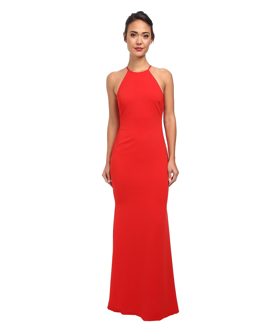 Badgley Mischka - Stretch Crepe Halter Gown (Red) Women's Dress