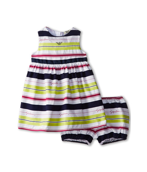 Armani Junior - Giorgio Dress w/ Bloomer (Infant) (Stripe) Girl's Dress