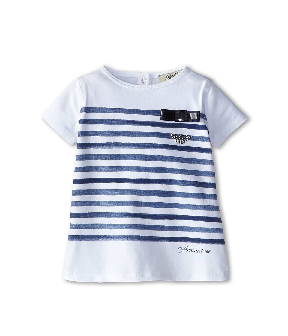 Armani Junior - Short Sleeve Tee w/ Faded Blue Stripe Detail (Infant) (White) Girl