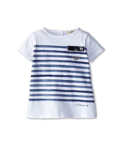 Armani Junior - Short Sleeve Tee w/ Faded Blue Stripe Detail (Infant) (White) Girl's T Shirt
