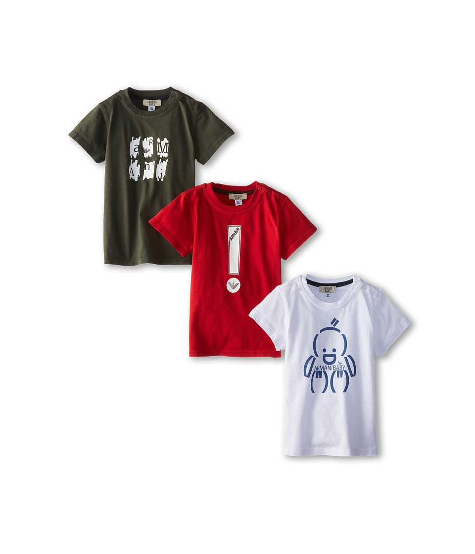 Armani Junior - Three-Piece T-Shirt Pack in Red/White/Green (Infant) (Multicolor) Boy's T Shirt