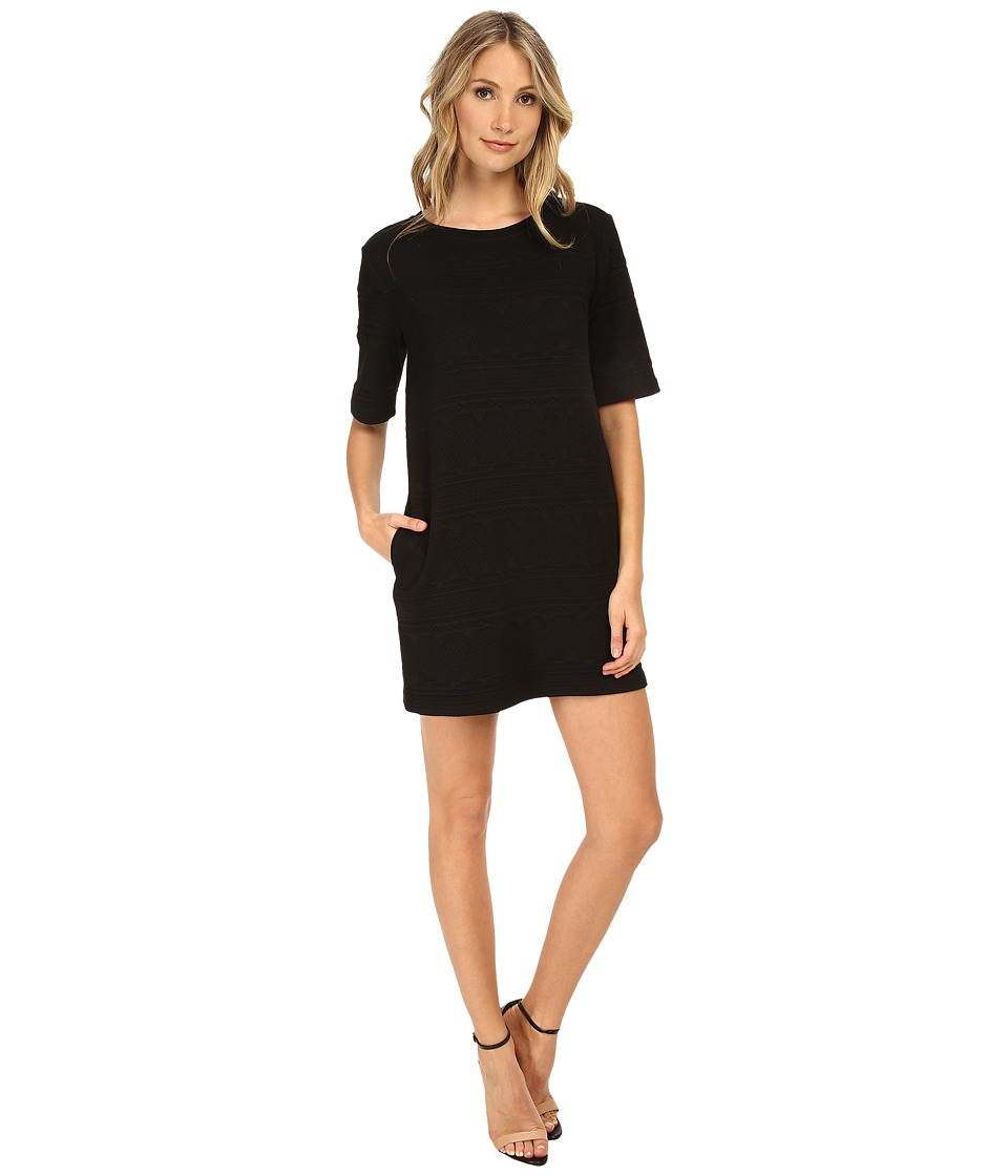 Michael Stars - Pliss Elbow Sleeve Shift Dress (Black) Women's Dress
