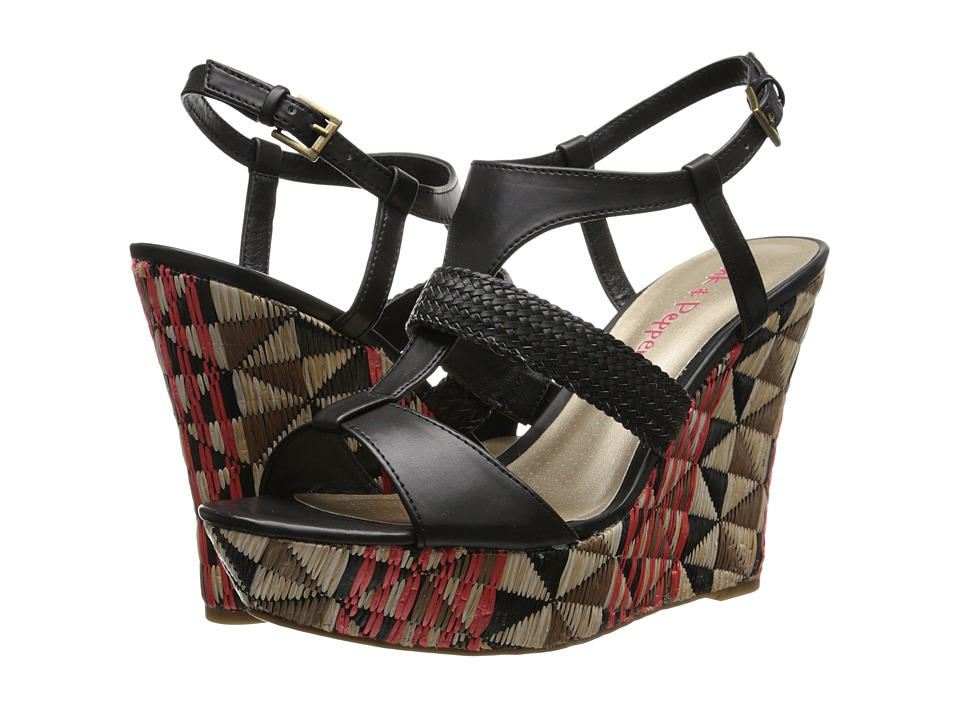 Pink & Pepper - Desired (Black Burnished PU) Women's Wedge Shoes