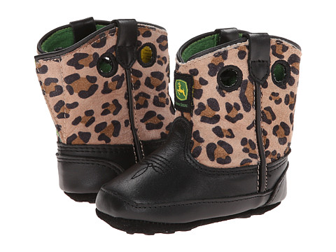 John Deere Kids - Broad Square Toe Pull-On (Infant/Toddler) (Black/Leopard) Cowboy Boots