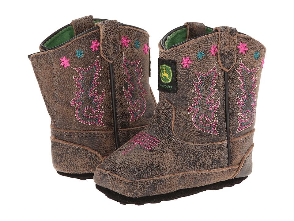 John Deere Kids - Broad Square Toe Pull-On (Infant/Toddler) (Sanded Black) Cowboy Boots