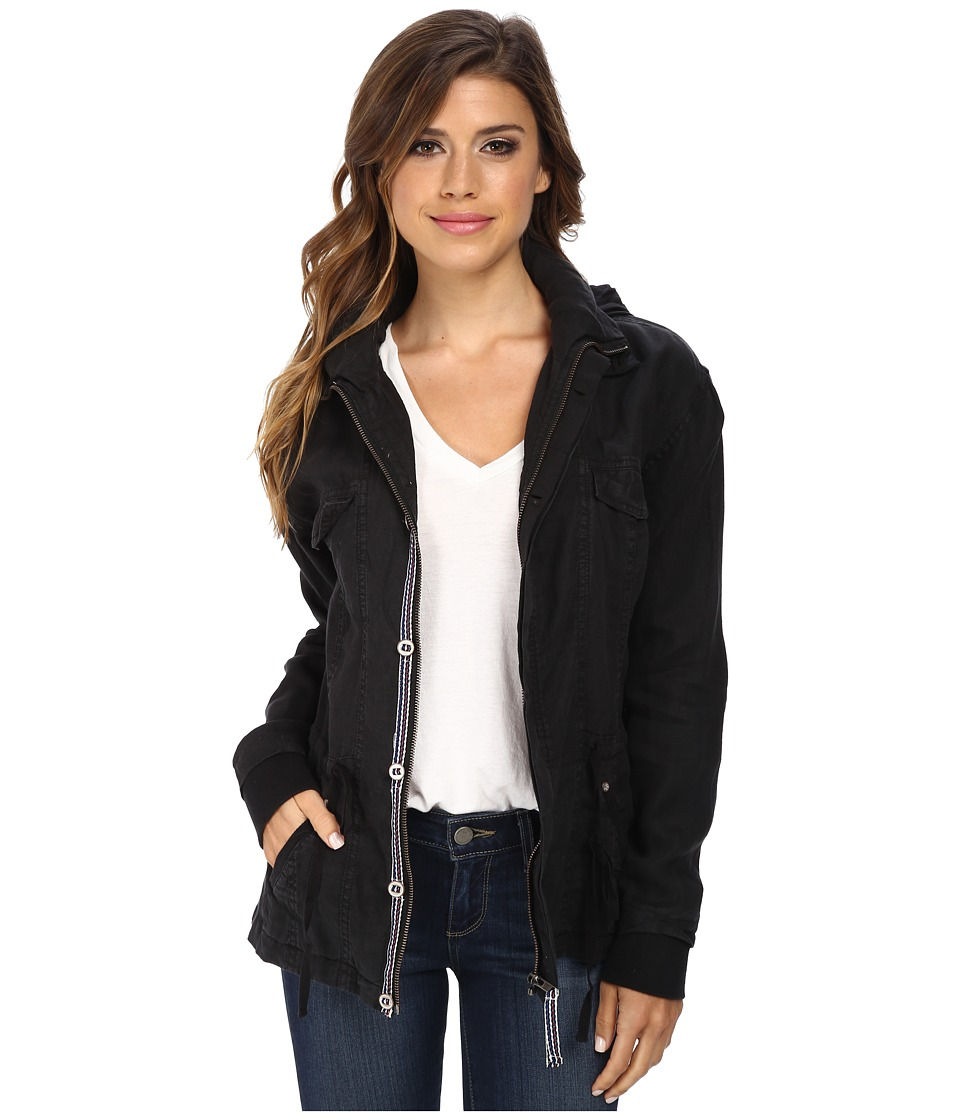 Michael Stars - Linen Long Sleeve Anorak Jacket (Black) Women's Jacket