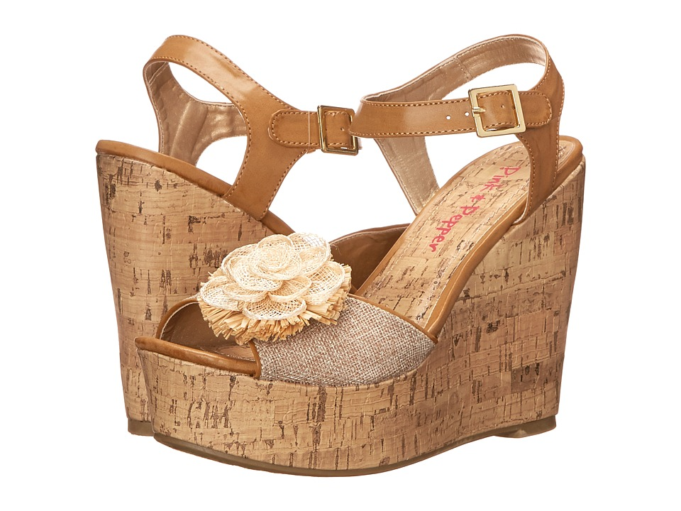 Pink & Pepper - Tialla (Natural/Glitter Raffia) Women's Wedge Shoes