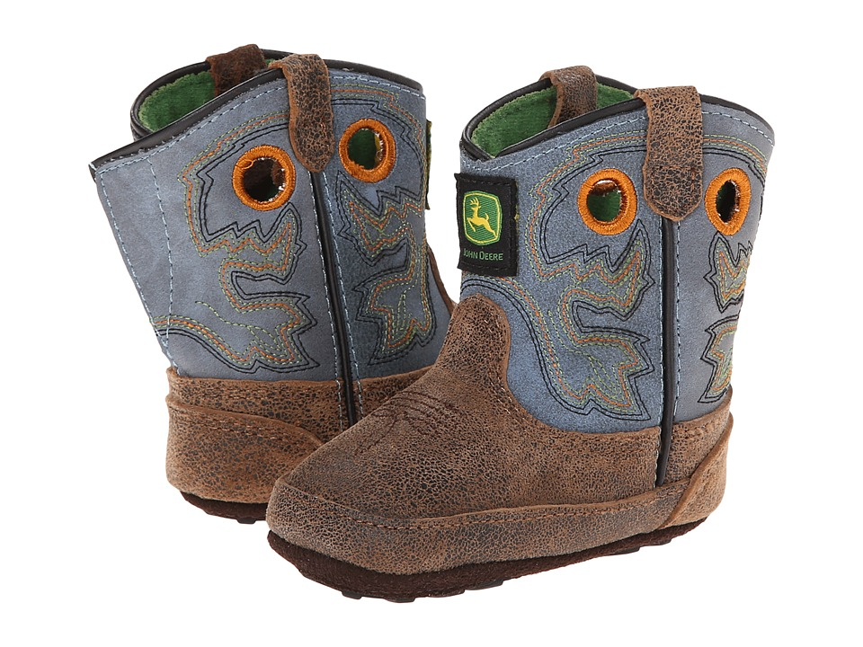 John Deere Kids - Broad Square Toe Pull-On (Infant/Toddler) (Tan Chaos/Sanded Blue) Cowboy Boots