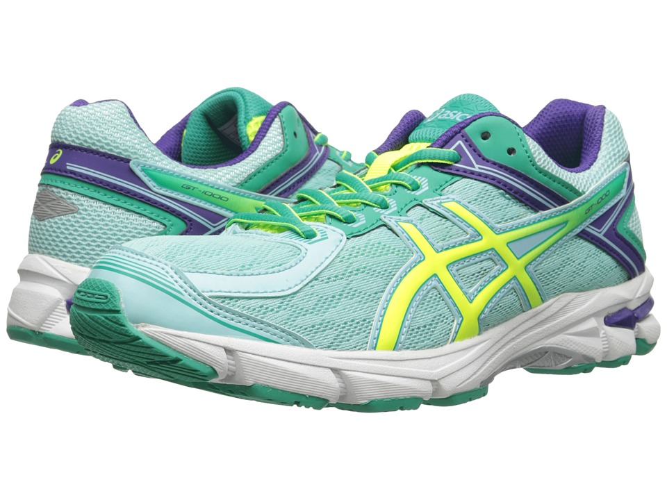 ASICS Kids - GT-1000 4 GS (Little Kid/Big Kid) (Ice Blue/Flash Yellow/Emerald) Girls Shoes