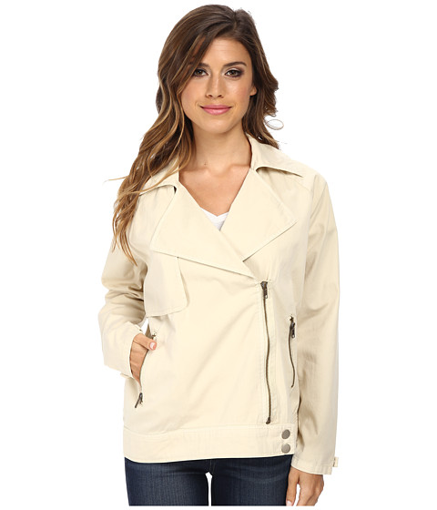 Michael Stars - Cotton Twill L/S Moto-Trench Jacket (Painter White) Women
