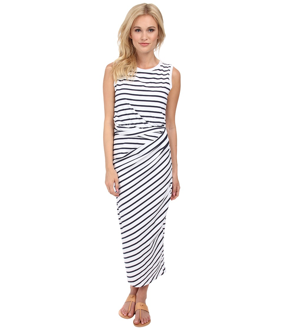 Michael Stars - Stripe Jersey Sleeveless Scoop Neck Midi Dress w/ Twist (White/Navy) Women