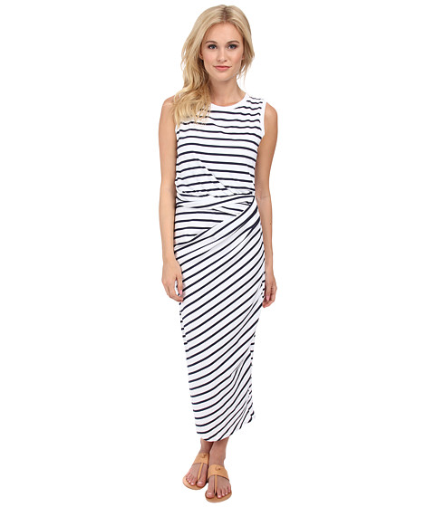 Michael Stars - Stripe Jersey Sleeveless Scoop Neck Midi Dress w/ Twist (White/Navy) Women's Dress