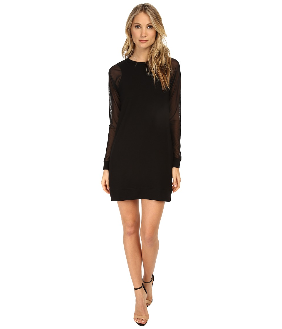 Michael Stars - Elevated French Terry L/S Crew Neck Dress (Black) Women's Dress