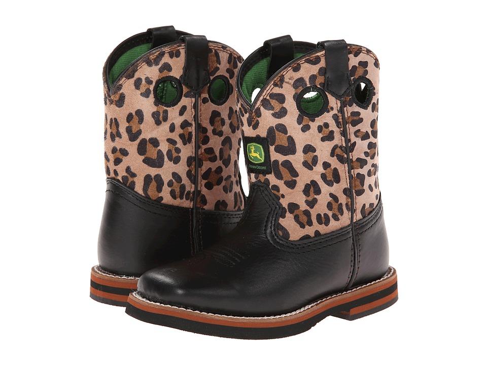 John Deere Kids - Broad Square Toe Pull-On (Toddler) (Black/Leopard) Cowboy Boots