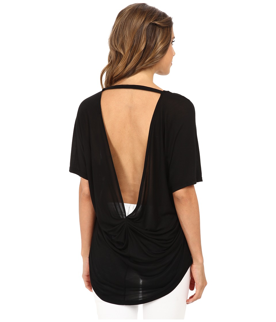 Michael Stars Micro Modal Jersey Short Sleeve Scoop Neck High-Low Top (Black) Women
