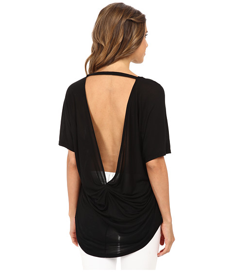 Michael Stars - Micro Modal Jersey Short Sleeve Scoop Neck High-Low Top (Black) Women's T Shirt