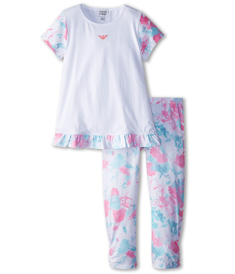 Armani Junior - Two-Piece Set: Floral Ruffle Sleeve Top w/ Teal Legging (Toddler/Little Kids) (White) Girl's Active Sets
