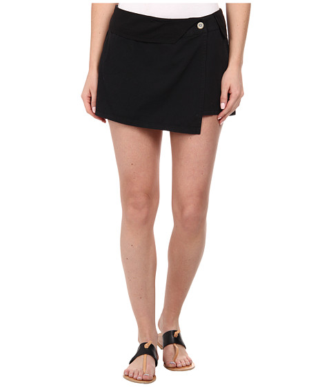 Michael Stars - Cotton Twill Asymmetrical Wrap Skort (Black) Women