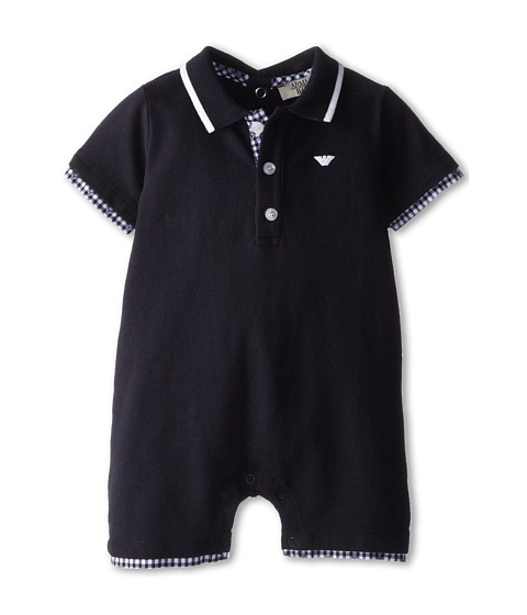 Armani Junior - Short One Piece w/ Plaid Check Detail (Infant) (Indigo) Boy's Jumpsuit & Rompers One Piece