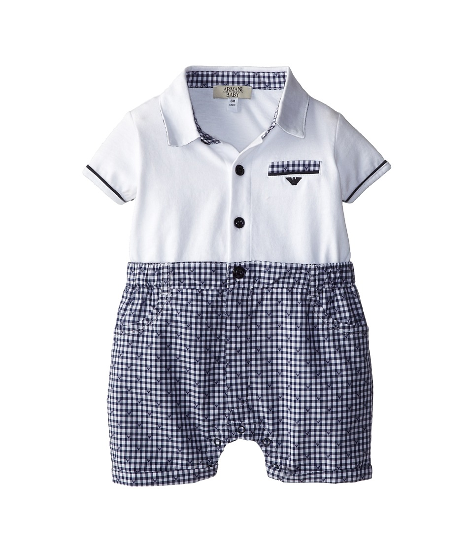 Armani Junior - Plaid Short One Piece w/ White Top (Infant) (Patterned) Boy's Jumpsuit & Rompers One Piece