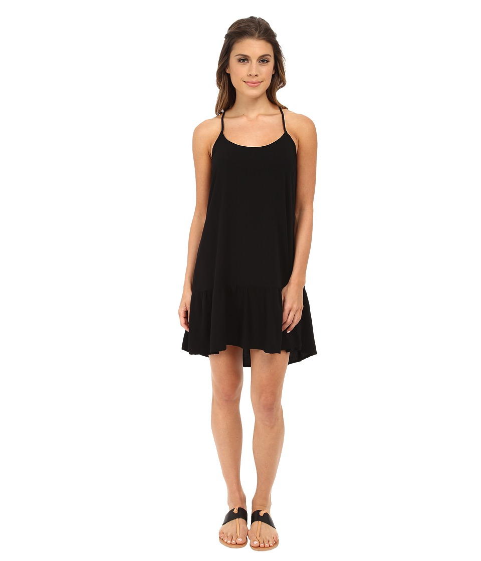 Michael Stars Modern Rayon Spaghetti Strap Cross Back Dress (Black) Women
