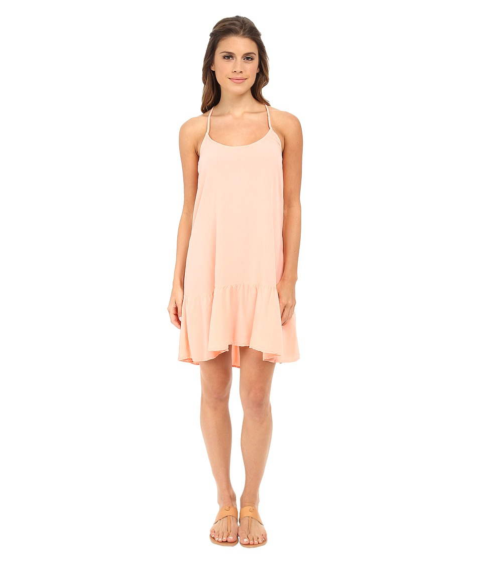 Michael Stars - Modern Rayon Spaghetti Strap Cross Back Dress (Coral Blush) Women
