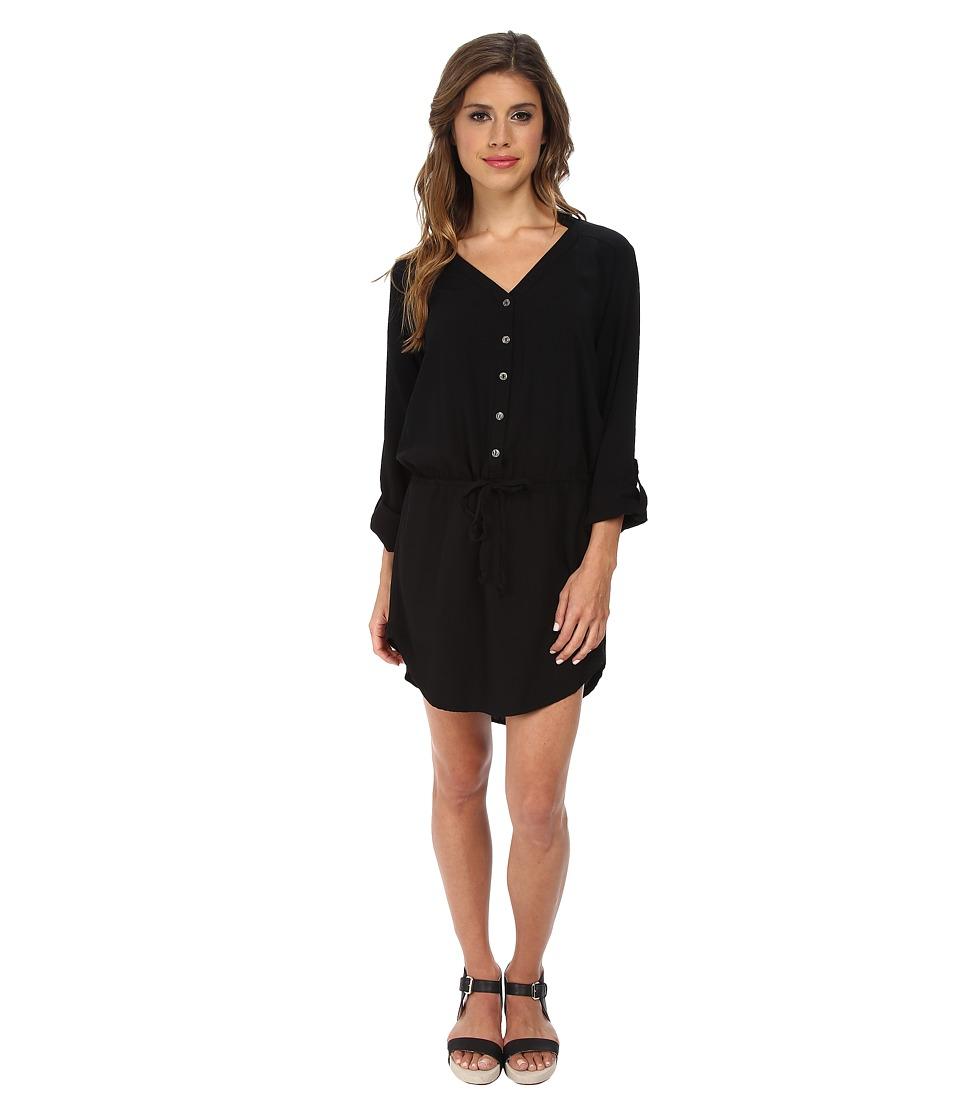 Michael Stars - Modern Rayon Three-Quarter Sleeve Shirt Dress (Black) Women's Dress