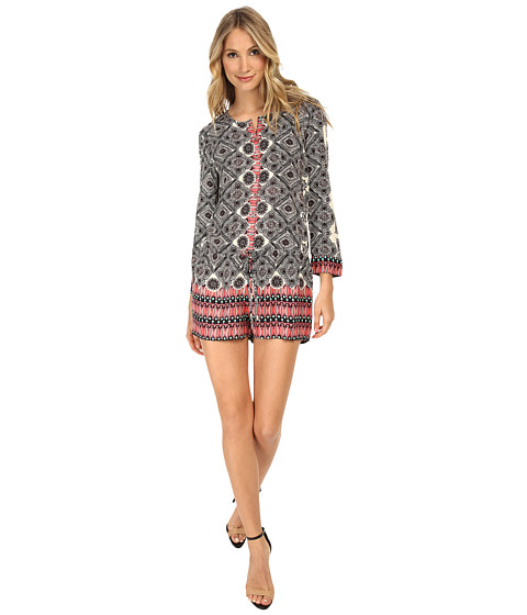 Michael Stars - Border Print 3/4 Sleeve Romper (Ivory/Black) Women