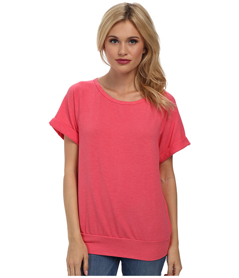 Michael Stars - Boardwalk French Terry Short Sleeve Raglan Scoop Neck Sweatshirt (Passion Fruit) Women