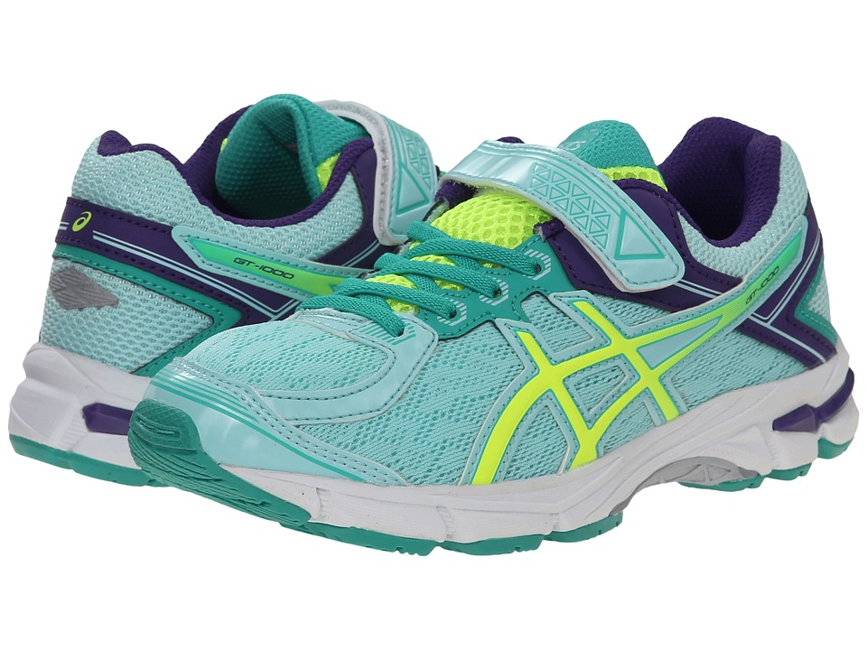 ASICS Kids - GT-1000 4 PS (Toddler/Little Kid) (Ice Blue/Flash Yellow/Emerald) Girls Shoes