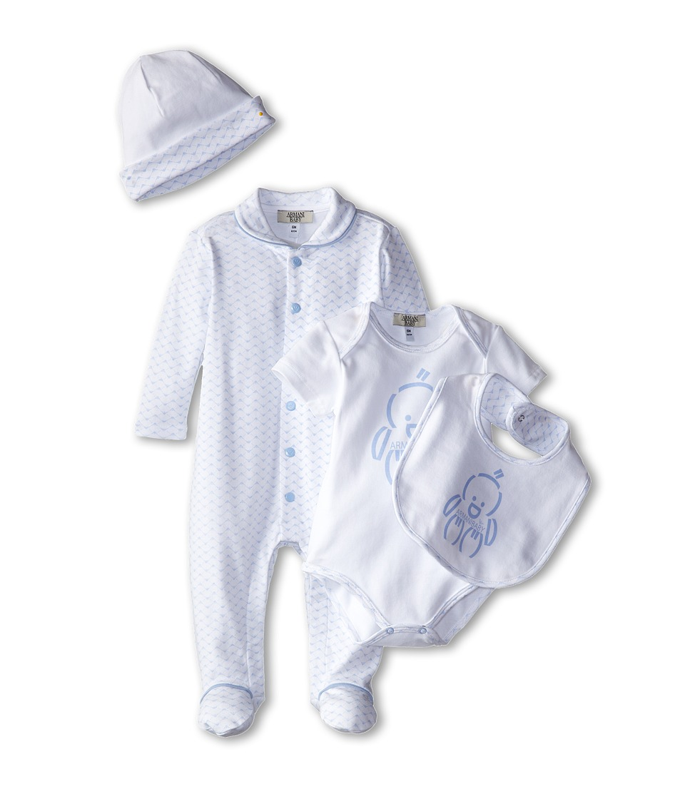 Armani Junior - Five-Piece Gift Set: Body Suit, Footie, Big, Hat Bag (Infant) (Light Blue Bicolor Two-Tone) Boy's Active Sets