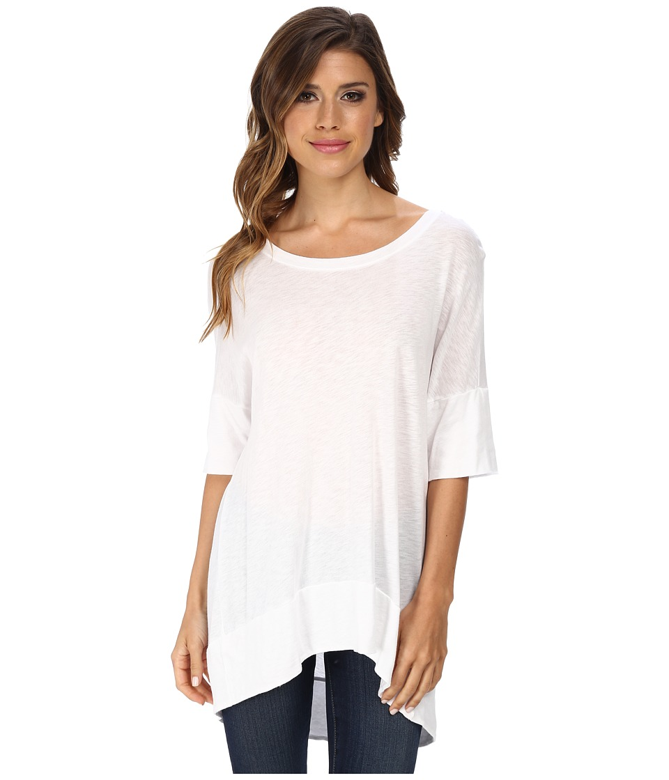 Michael Stars - Luxe Slub Elbow Sleeve Scoop Neck High-Low Top (White) Women's Short Sleeve Pullover