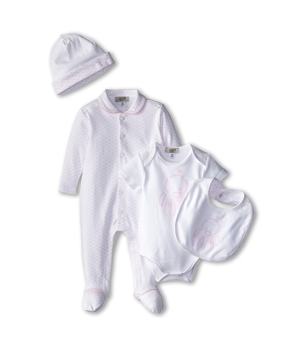 Armani Junior - Five-Piece Gift Set: Body Suit, Footie, Big, Hat Bag (Infant) (Pink Bicolored Two-Tone) Boy's Active Sets