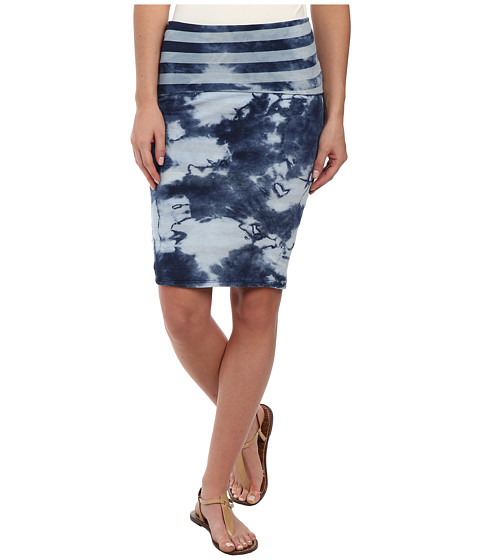 Michael Stars - Indigo Wash Reversible Fold Over Skirt (Indigo Stripe) Women