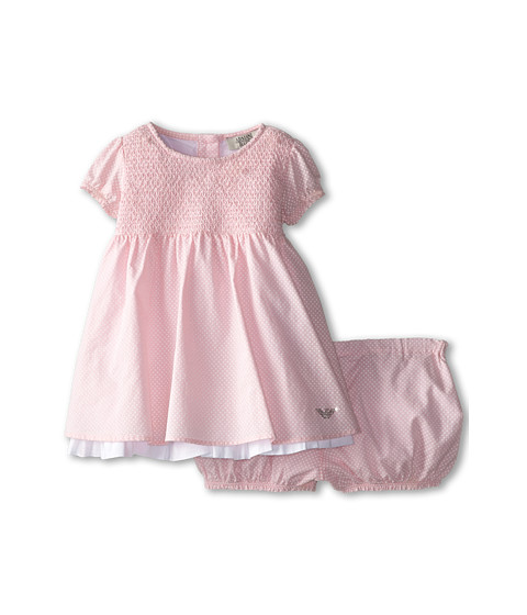 Armani Junior - Two-Piece Gift Set: Smocked Pink Dress w/ Bloomer (Infant) (Patterned) Girl's Active Sets