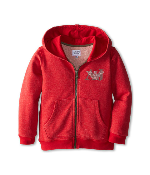 Armani Junior - Vintage Zip-Up Hoodie w/ AJ Logo (Toddler/Little Kids/Big Kids) (Red) Boy